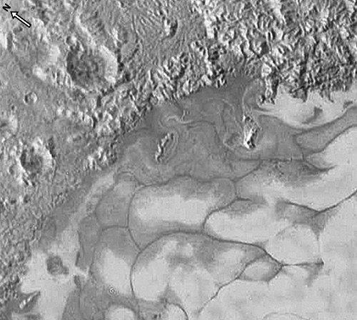Zoom vertical sur les plus belles figures de fluage de la glace de Sputnik Planum