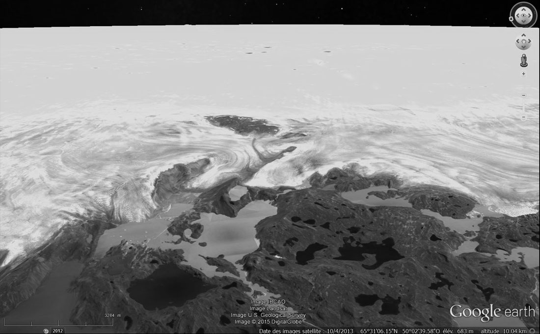 Des glaciers de la côte Ouest du Groenland, analogie morphologique avec les figures d'écoulement du Nord-Ouest de Sputnik Planum