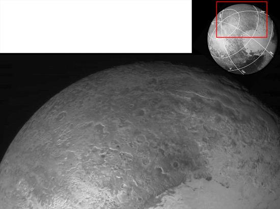 Vue (mosaïque) du secteur situé au Nord-Est et à l'extérieur de Sputnik Planum: Pioneer Terrae et Hayabusa Terrae