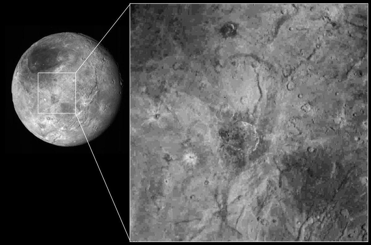 Image détaillée de la partie centrale de la face connue de Charon
