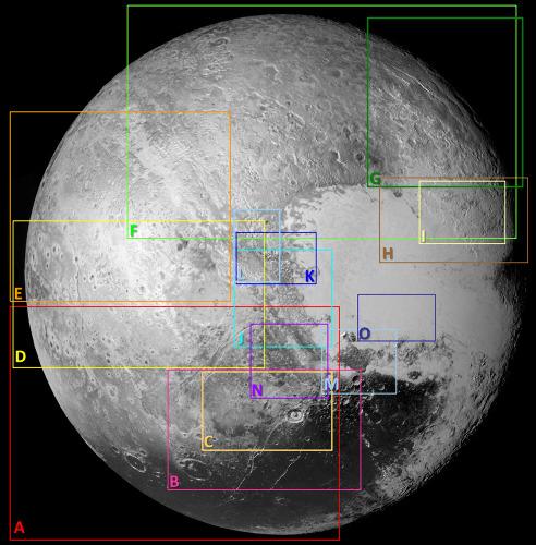 Localisation des quinze secteurs de Pluton détaillés ci-après