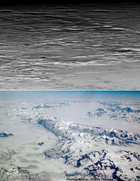 Comparaison entre les surfaces piquetées de Pluton et glaciers groenlandais