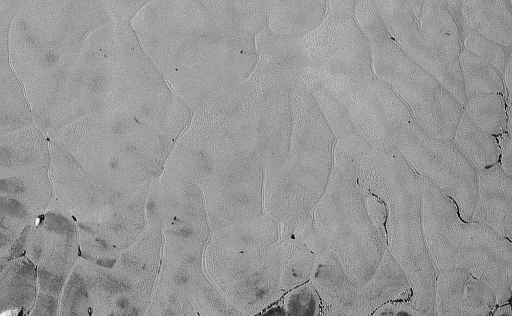 """Zoom sur le """"remplissage"""" de Sputnik Planum et de son étrange structuration en pseudo-polygones séparés par des doubles sillons parallèles, Pluton"""
