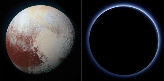 Pluton, face éclairée et face à l'ombre lors du survol de la sonde New Horizons