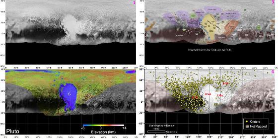 Quatre planisphères de Pluton (projection cylindrique équivalente de Mollweide)