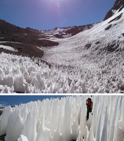 Exemples de pénitents terrestres (Chili, Haute Cordillère des Andes)