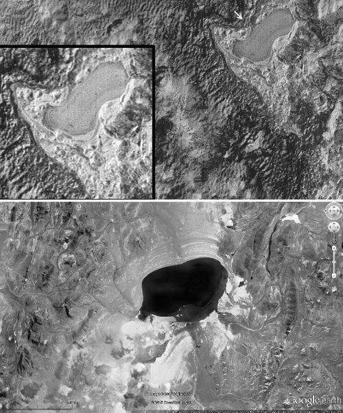 Lac de diazote gelé(frozen pond en anglais) à la surface de Pluton et équivalent morphologique terrestre