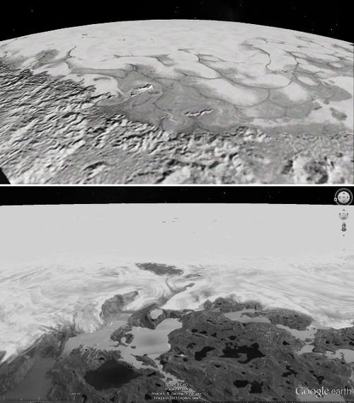 Vue rasante (prise en direction du Sud) de la limite Nord de Sputnik Planitia et comparaison avec des glaciers terrestres