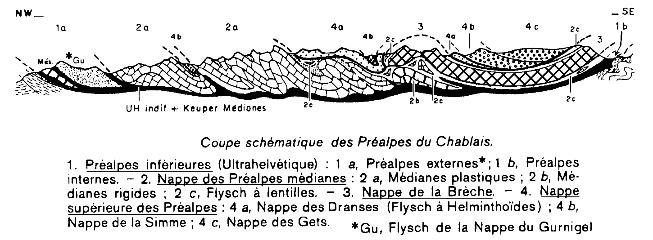 Coupe schématique des Préalpes du Chablais, donnant le style tectonique de ce massif