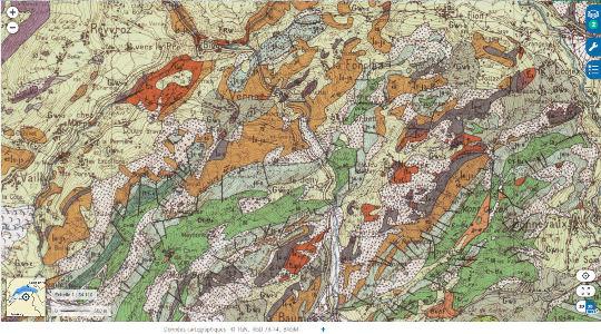 Extrait de la carte géologique au 1/50000 de Thonon-Chatel montrant le secteur des Gorges du Pont du Diable