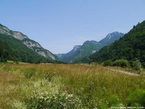 Vue de la vallée de la Dranse de Morzine quelques kilomètres en amont des Gorges du Pont du Diable, La Vernaz, Haute-Savoie