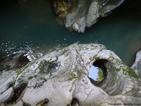 Marmites de géant encore en eau, juste au dessus du lit estival de la Dranse de Morzine, et probablement actives en période de hautes eaux, dans les Gorges du Pont du Diable