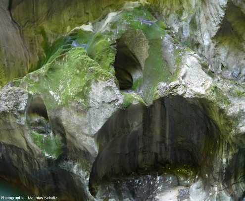 Marmites de géant de tailles diverses et à différents niveaux dans les Gorges du Pont du Diable