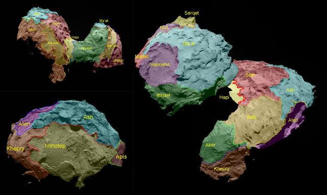Découpage de la comète Chury en 19 régions, toutes nommées d'après des divinités ou personnages de l'Égypte antique