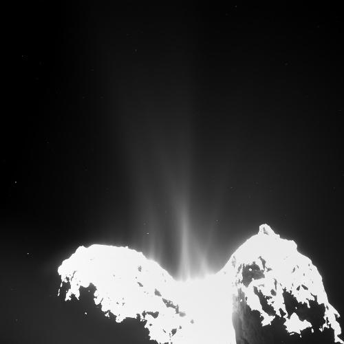 Jets de gaz et de poussière émis par la comète Chury, le 10 septembre 2014