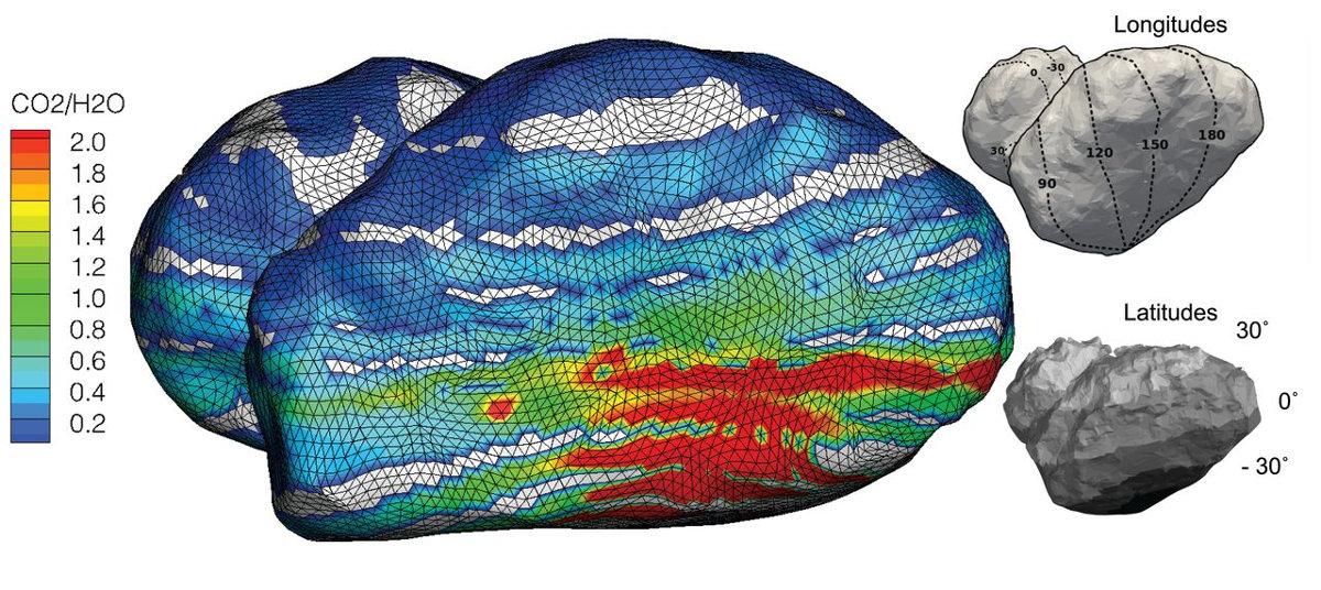 """Carte du rapport CO2/H2O dans les gaz émis par le """"sommet"""" du lobe principal"""