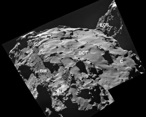 Mosaïque d'images prises le 28 octobre 2014 montrant une partie du lobe principal avec des surfaces consolidées exposées (ECS), des terrains fragiles (BM) et des terrains recouverts de poussière (DCT), C représente la seule dépression qui ressemble à un cratère d'impact