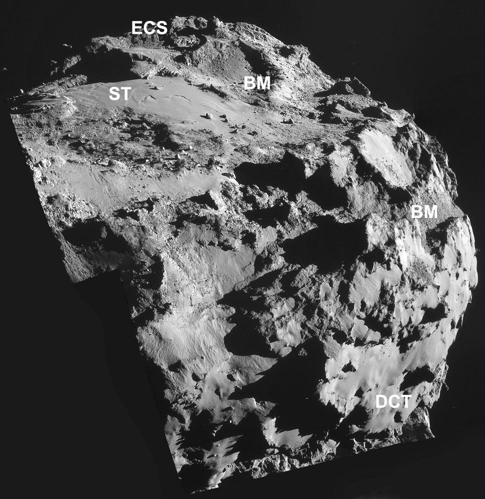 Mosaïque d'images prises le 8 octobre 2014 montrant une partie du lobe principal, avec des surfaces consolidées exposées (ECS), des terrains cassants (BM), des terrains recouverts de poussière (DCT) et des terrains lisses (ST)