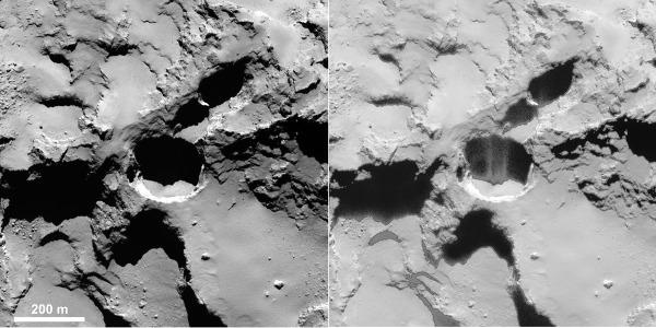 Jet sortant d'un puits, sauf artefact, à la surface de la comète 67P/Churyumov-Gerasimenko