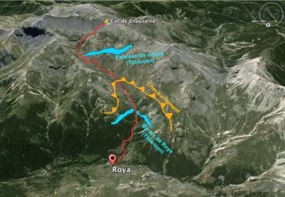 Schéma géologique du paysage sur l'itinéraire Roya - col de Crousette