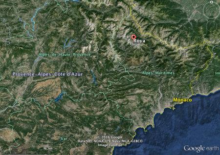Localisation régionale du hameau de Roya, Saint-Étienne-de-Tinée, Alpes-Maritimes