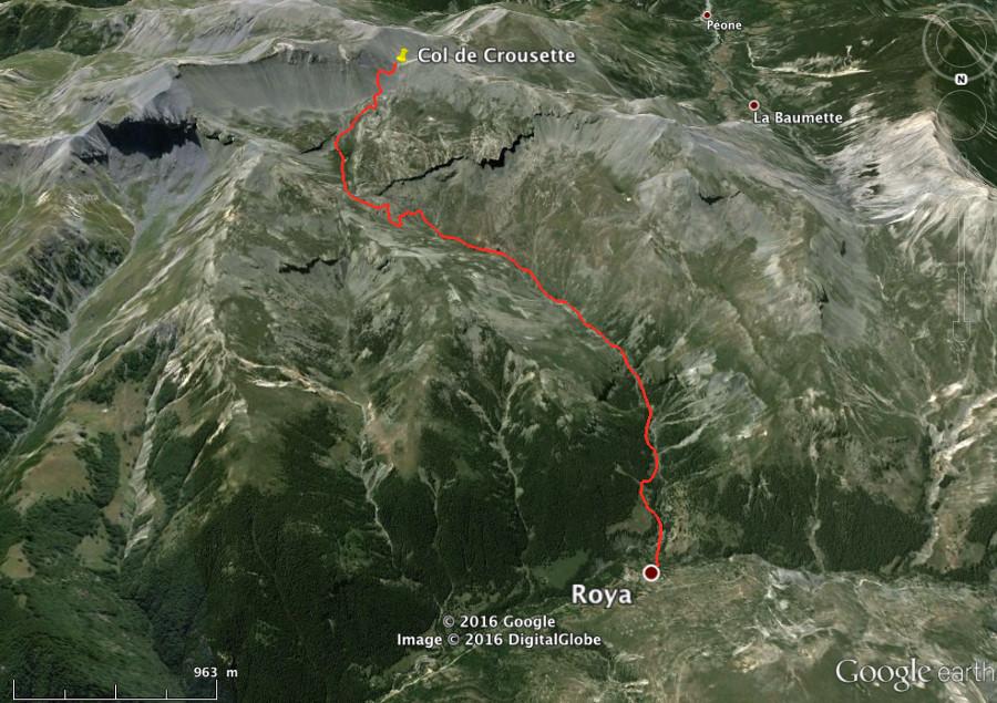 Itinéraire Roya - col de Crousette (Alpes-Maritimes) sur fond d'image satellite