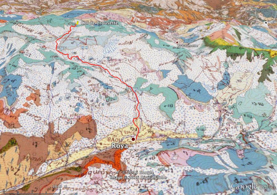 Itinéraire Roya - col de Crousette (Alpes-Maritimes) sur fond géologique