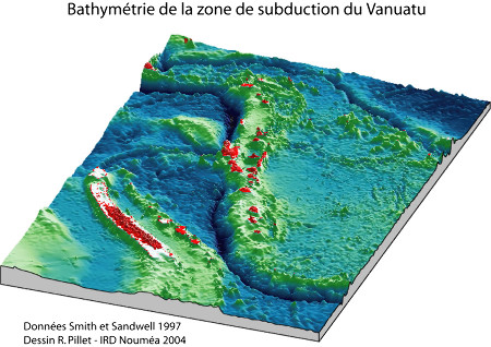Bathymétrie de la zone de subduction de Vanuatu