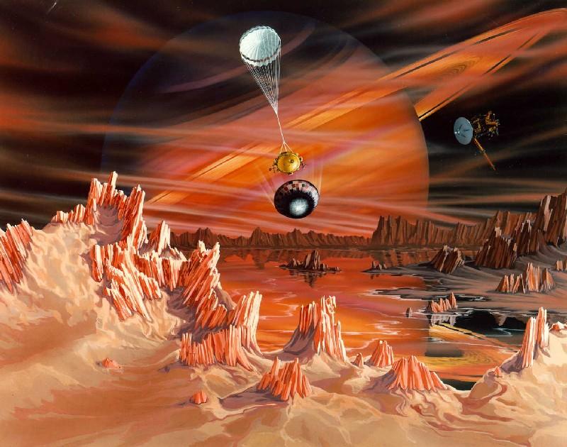 Vue d'artiste de la surface de Titan