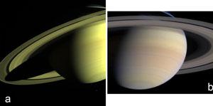 Saturne et de ses anneaux photographiés par Cassini