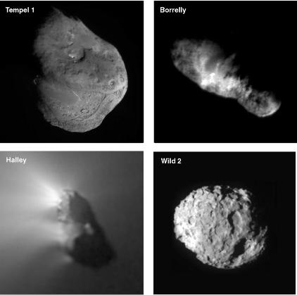Images détaillées des 4 comètes survolées à ce jour