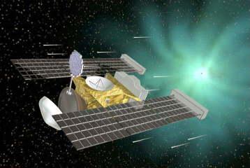 """Vue d'artiste de la sonde Stardust et de sa """"raquette"""" d'aérogel s'apprêtant à survoler Wild2"""