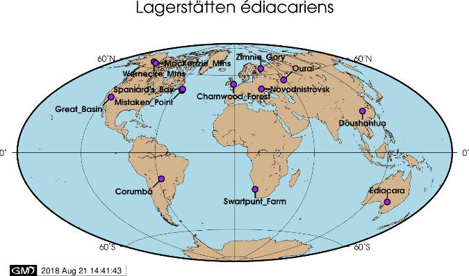 Quelques sites majeurs ayant fourni des fossiles édiacariens