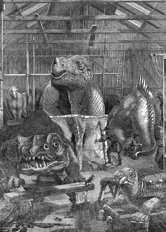 Les statues de dinosaures du Crystal Palace, en préparation dans l'atelier de Benjamin Waterhouse à Sydenham