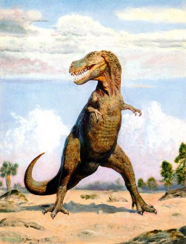 La célèbre peinture de Tarbosaurus bataar, cousin mongol du Tyrannosaurus rex américain