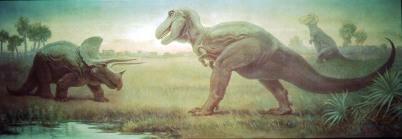 Reconstitution iconique de Triceratops et Tyrannosaurus