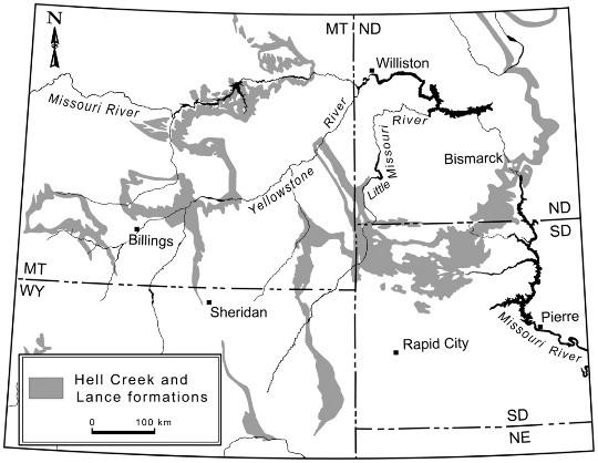 Cartographie des dépôts de la formation Hell Creek, à cheval sur les états du Dakota du Nord (ND), du Dakota du Sud (SD), du Montana (MT) et du Wyoming (WY)