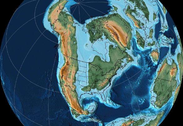 Paléogéographie de l'Amérique du Nord au Crétacé supérieur (90Ma)