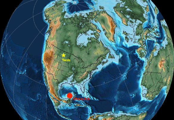 Paléogéographie de l'Amérique du Nord à la limite K-Pg (66Ma)