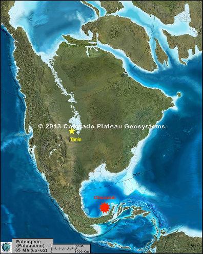 Autre reconstitution de la Mer Intérieure Occidentale à 66Ma