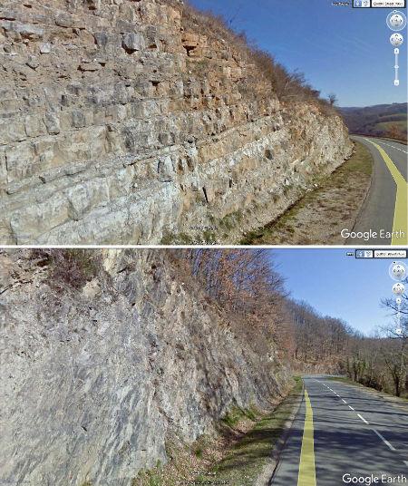 Différence entre les marno-calcaires (en haut) et les micaschistes (en bas) le long de la D95E, quelques centaines de mètres après le carrefour avec la D45