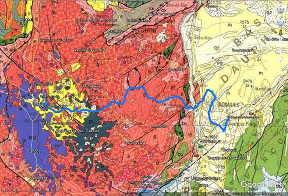 Trajet de la 16ème étape (trait bleu) du Tour de France 2017 sur fond de carte géologique au 1/1000000