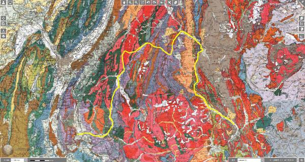 Trajet de la 17ème étape (trait bleu) du Tour de France 2017 sur fond de carte géologique au 1/250000