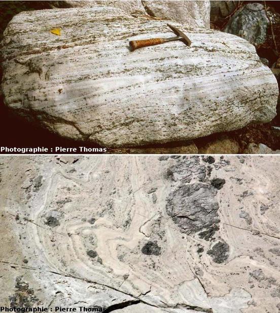 Plis syn-schisteux (en haut) et post-schisteux (en bas) dans des gypses de la Maurienne