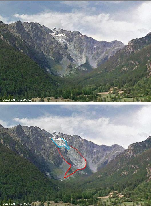 Le glacier du Casset, en haut, l'état actuel, et en bas, interprétation de la même image