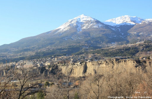 La ville d'Embrun sur sa terrasse fluvio-glaciaire