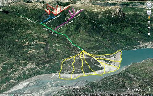 Vue aérienne interprétée du système torrentiel de Bragousse-Boscodon