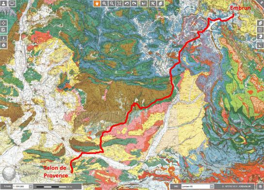 Trajet de la 18ème étape (trait rouge) du Tour de France 2017 sur fond de carte géologique au 1/250000
