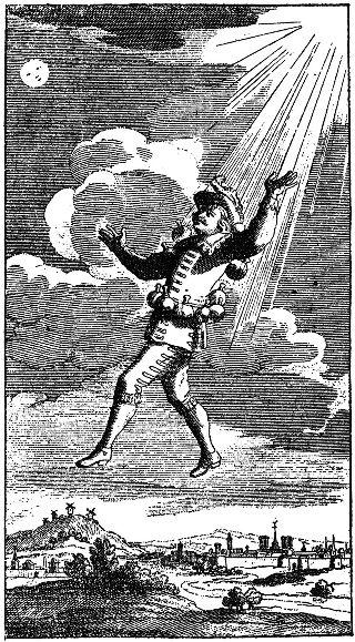 Un moyen très fantaisiste d'atteindre la Lune pour Cyrano, XVIIème siècle