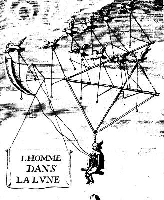 Un moyen très fantaisiste d'atteindre la Lune pour un homme, XVIIème siècle